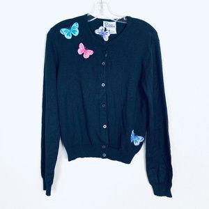 Lilly Pulitzer sz L black silk butterfly cardigan